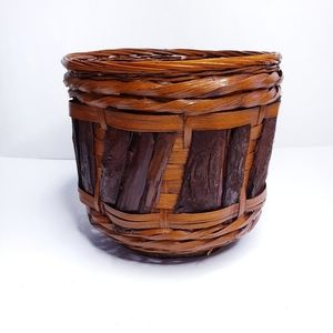 Wicker Basket Woven with Wooden Accents